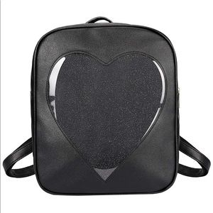 ITA Backpack in Black w/ clear glitter window